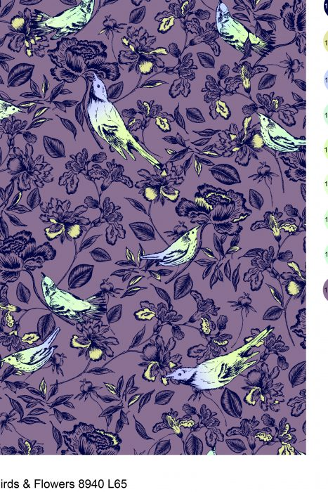 Bird and flower quilting fabric