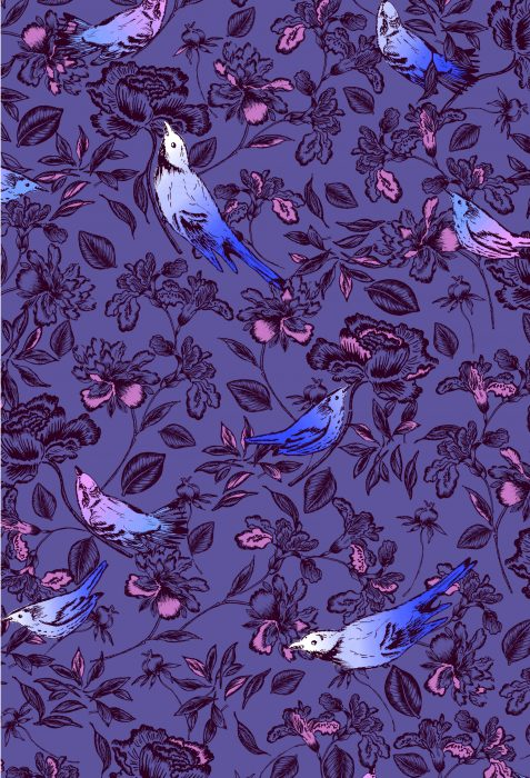 birds and flower quilting fabric