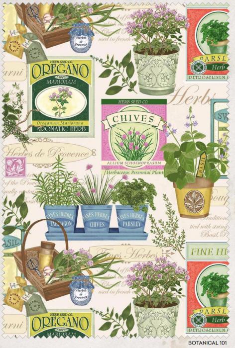 Botanical quilting fabric