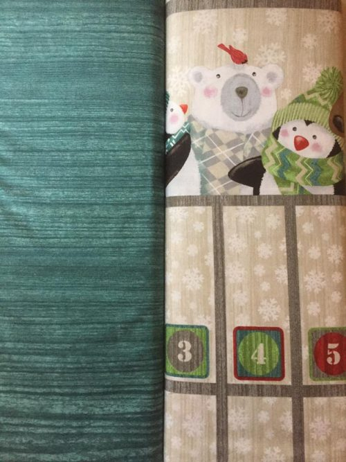 Hurry up Santa advent calendar panel and matching backing fabric