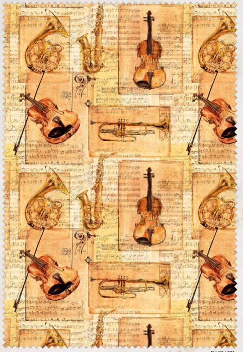 Bach Musical Instrument Quilting fabric by Indigo Fabrics