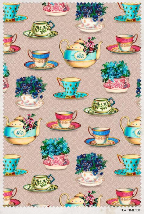 Tea Time Quilting fabric by Indigo Fabrics