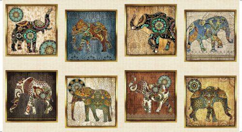 Elephant fabric quilting Panels Quilting Treasures Caravan range