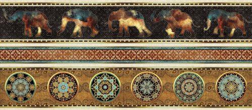 Elephant Decorative Stripe quilting fabric from Quilting Treasures Caravan Range