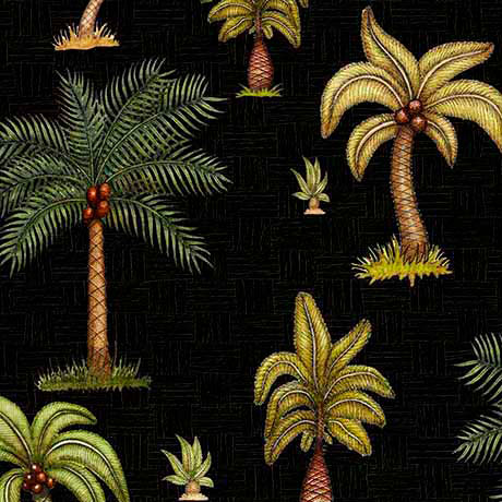 Black Palm Trees quilting fabric from Quilting Treasures Caravan Range