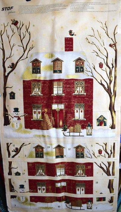 advent calendar panel and matching backing fabric by Stof