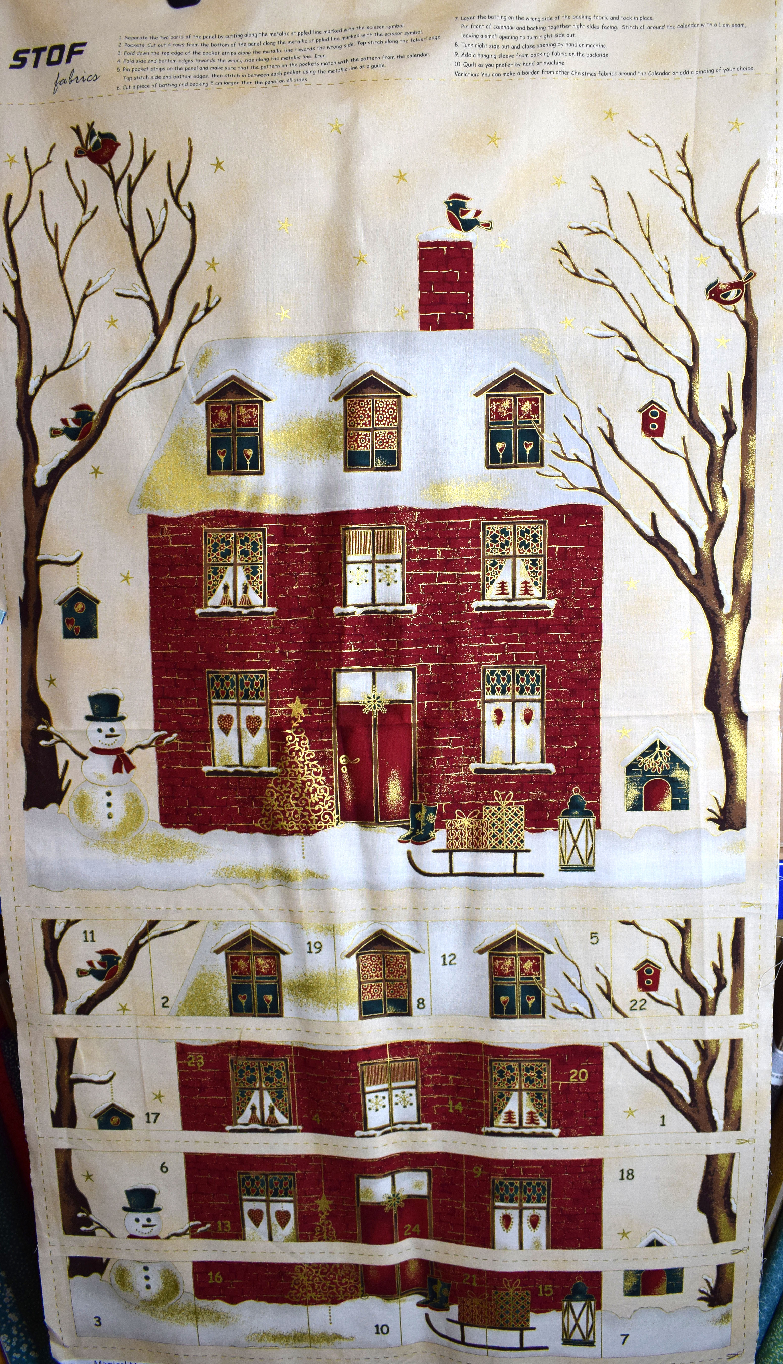 Advent Calendar Panel And Matching Backing Fabric By Stofthe Quilt