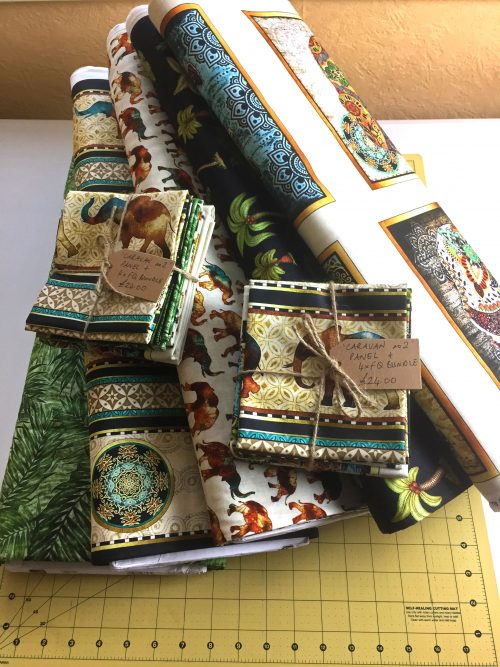 Elephant Fat Quarter Bundle and Panel by Quilting Treasures Caravan Range