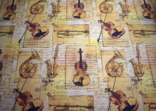 Bach Musical Instrument Quilting fabric by Indigo Fabrics
