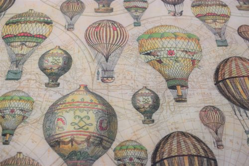 vintage hot air balloon quilting fabric, Verne by Indigo Fabrics of Spain