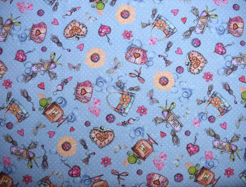 Blue Mademoiselle quilting fabric By Indigo Fabrics