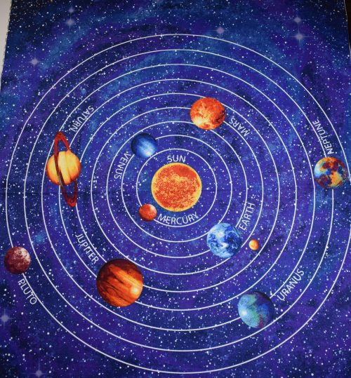 Out of This world glow in the dark quilting panel