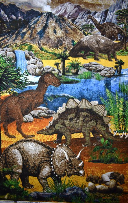Dinosaur quilting panel prehistoric by Linda Ludovico for Stonehenge fabrics