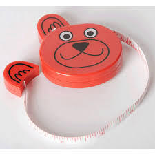 Metro Zoo Red Bear childrens retractable tape measure