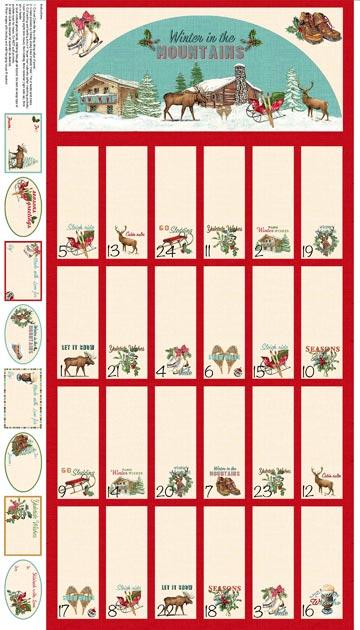Spruce Mountain advent calendar panel by Northcott Fabrics