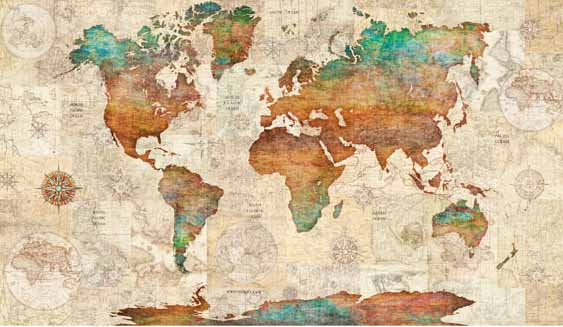 World Map quilting Panel part of the Wanderlust Range by Dan Morris